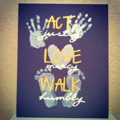 Made with Beckett's foot and hand prints. Heart print is a little more difficult to obtain.
