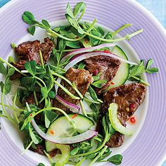 Thai Beef Salad Recipe   Leaves from 1/2 bunch cilantro  1 package (4 oz.) sprouts, such as radish or pea  1/2 English cucumber, halved lengthwise and sliced thinly $  1/3 cup thinly sliced red onion, rinsed  2 celery stalks, sliced diagonally $  2 teaspoons Thai or Vietnamese fish sauce*  3 tablespoons Thai sweet chili sauce*  Juice of 1 lime  1 tablespoon vegetable oil  1/2 pound sirloin steak, sliced thinly  2 teaspoons soy sauce