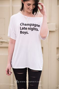 Sale- Champagne. Late nights, Boys.