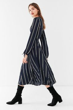 778e7a38548 Urban Outfitters UO Audrey Long-Sleeve Wrap Midi Dress