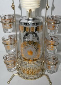Mondays sale glass decanter with shot glasses gold by capecodgypsy