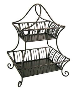 New 2 Tier Fruit Basket Stand Wood Crate Metal Frame