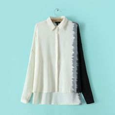White Dying Sleeve Turn Down Collar Chiffon Blouse