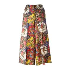 ALBERTO BIANI Patchwork Floral Print Palazzo Pants ($390) ❤ liked on Polyvore featuring pants, multi, alberto biani, flower print pants, colorful pants, floral pants and floral trousers