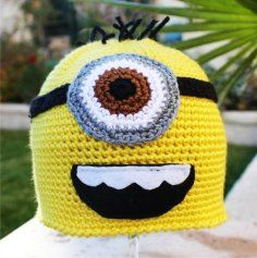 handmade beanies for kids | ... Me Minion -ish Hat : One- Eyed Minion Handmade Crochet Beanie Hat