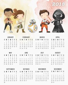 Free Printable 2018 Star Wars Calendar /// One Page /// New Trilogy
