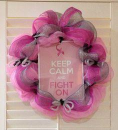 Breast Cancer Awareness Wreath  Keep Calm & by GreatLittleGiftShop, $60.00