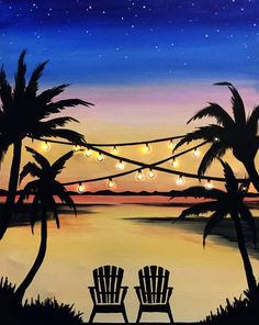 Pick A Painting For Your Next Private Paint Party Muse Paintbar # Canvas Painting Tutorials, Easy Canvas Painting, Simple Acrylic Paintings, Wine Painting, Summer Painting, Beach Sunset Painting, Paradise Painting, Small Canvas Art, Mini Canvas Art