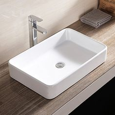 Brand New Rectangle Bathroom Sink Bowl Vessel Basin w/Pop Up Drain White Porcelain Ceramic Bathroom Sink Bowls, Bathroom Sink Design, Modern Bathroom Faucets, Vessel Sink Vanity, Undermount Bathroom Sink, Basin Sink, Bathroom Ideas, Small Bathroom, Master Bathroom