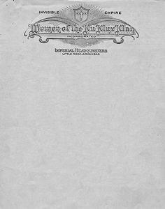 Women of the Ku Klux Klan Letterhead, 1928 Letters Of Note, Ku Klux Klan, Letterhead Design, Modern Typography, Depressing, Birth, Stationary, American, Children