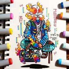 Cute Doodle Art, Doodle Art Designs, Doodle Art Drawing, Cool Art Drawings, Colorful Drawings, Copic Marker Art, Copic Art, Vexx Art, Doddle Art