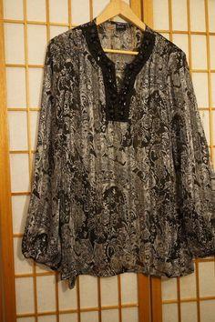 8eb9ecf6f63a2b Black Saks Fifth Avenue Top Size X Large Black White Semi Sheer Bling  Neckline  SaksFifthAvenue