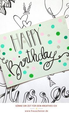 Bullet Journal Hand Lettering, Hand Lettering Art, Brush Lettering, Birthday Card Drawing, Handmade Birthday Cards, Happy Birthday, Diy Cards, Sag Ja, Fox Print