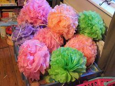 Party decorations - tissue pom poms