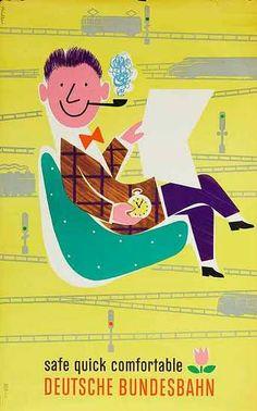 DP Vintage Posters - Safe Quick Comfortable German Rail Original Vintage German Travel Poster