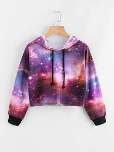 Galaxy Print Drawstring Crop Hoodie - Romwe Galaxy Print Drawstring Crop Hoodieone-size Source by - Crop Top Outfits, Cute Casual Outfits, Stylish Outfits, Dress Outfits, Dresses, Galaxy Outfit, Jugend Mode Outfits, Crop Top Hoodie, Cropped Hoodie Outfit