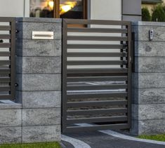 Modular fence system ROMA Classic - Concrete fences - producer of fences, posts, blocks and hollow bricks - JONIEC House Fence Design, Front Wall Design, Window Grill Design, Door Gate Design, Gate Designs Modern, Modern Fence Design, Wood Fence Design, Concrete Fence Wall, Classic Fence