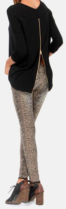 Exposed Zipper + Leopard