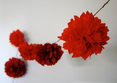 RED OMBRE tissue paper pompom garland bunting valentines day engagement wedding eid decorations 50th birthday holiday party Chinese New Year by PomLove on Etsy https://www.etsy.com/listing/119287766/red-ombre-tissue-paper-pompom-garland
