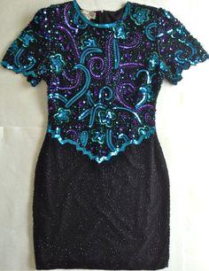 Vintage Laurence Kazar Beaded Sequin Dress 100% Silk Womens Size L Black Lined