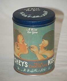 Old Vintage Advertising Ad Hershey's Kisses Litho Tin Can 1980 Metal Container #HersheysKissesMilkChocolate
