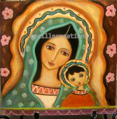 Sweet Madonna and child - original mixed media painting collage. folk art style