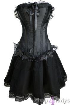 Corsage-Kleid-Mini-Rock-Petticoat-Gothic-schwarz-35b
