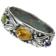 Large bracelet in silver with gemstone. Browse more exclusive standout bracelets in silver and gold with gemstones at Athena's Treasures. Silver Bangle Bracelets, Handmade Bracelets, Bangles, Metal Jewelry, Jewelry Box, Silver Jewelry, Jewellery, Greek Jewelry, Fantasy Jewelry