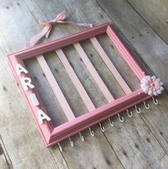 Light Pink hair bow holder, pink and white nursery decor, hair accessories organizer, jewelry storage, headband holder, picture frame bow