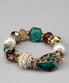 The Shelley Line Emerald & Gold Stretch Bracelet