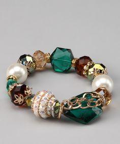 The Shelley Line Emerald & Gold Stretch Bracelet