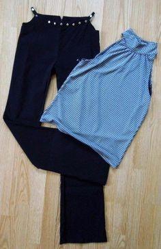 Women S/M #Three-Heart #HipHugger #Trouser #Pants #Sleeveless #Geo Print #Top #BlackClothes #Sexy #Clubwear #Fashion