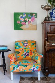 Yellow Floral Armchair