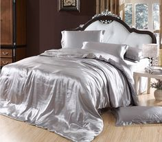 Bed idea Elegant+Bedding | solid-color-silk-smooth-bedding-set-silver-comforter-set-purple-duvet ...