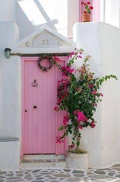 Pretty in Pink Door house in Paros , Greece Cool Doors, The Doors, Unique Doors, Windows And Doors, Front Doors, Front Entry, I Am The Door, Pretty In Pink, When One Door Closes