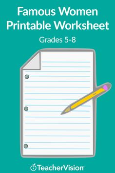 In this printable worksheet, students must match the first name of famous American women with their last names and notable accomplishments. This is a great activity for Women's History Month! (Grades 5-8)