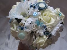 Bespoke Blue and ivory button Bridal by Craftswithchrissie on Etsy, £40.00