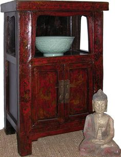 26u0027u0027H.Chinese Antique Two Door Plant Stand