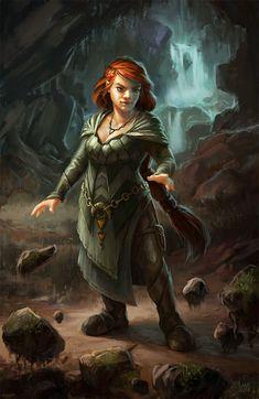 Female Dwarf Wizard - Pathfinder RPG PFRPG DND D&D d20 fantasy