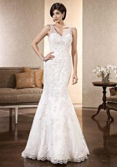 Elegant Floor Length Mermaid V Neck Lace Wedding Gowns With Beading