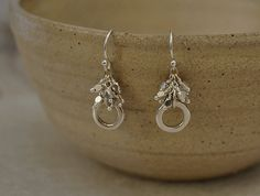 Sterling Silver Cast Circle Short Drop Earrings with by WendyGrace, $67.00