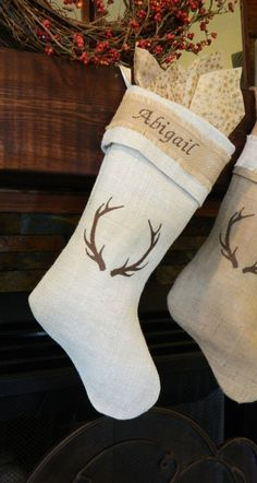Beautiful ivory burlap Christmas stocking with embroidered antlers and monogrammed cuff! by RedeemedCustomDesign on Etsy