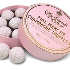 Champagne truffles! YUM! link to buy here http://www.charbonnel.co.uk/products/best-sellers/pink-marc-de-champagne-truffles.html