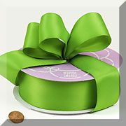 Solid Color Premium Fabric Satin Ribbon - Kiwi