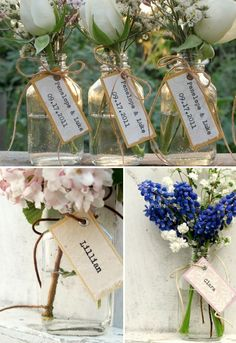 Use petite bottles as flower vases to make floral wedding favors that also dress up the reception tables. Because, it is also part of your flower/deco budget, and they double as pretty little place card holders. That's 3 in 1!