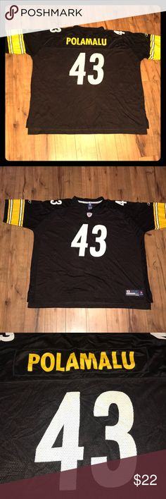15be1e26e98 Reebok Polamalu Pittsburgh Steelers 🏈 Jersey Reebok Oversized Troy  Polamalu Pittsburgh Steelers NFL Football 🏈 Jersey Pit to pit / Top of the  shoulder to ...