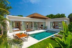 Affordable Luxury Pool Villas for Sale in Phuket. The layout of the villa ensure. - Desak Yoni - - Affordable Luxury Pool Villas for Sale in Phuket. The layout of the villa ensure. Modern Tropical, Tropical Houses, Tropical Gardens, Tropical Pool, Tropical Plants, Villa Design, Modern House Design, Small House Design, Small Villa