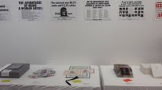 mfc-michèle didier's booth at MAD2 at La maison rouge in Paris.  Works by The Guerrilla Girls, UNTEL, JaZon Frings and Claude Closky.
