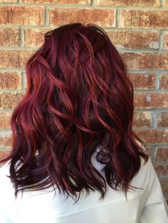 Layered Lob For Black Hair With Burgundy Balayage Medium Length
