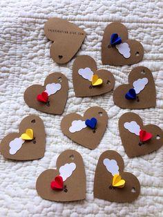 Corazón de aire caliente globo regalo etiquetas (juego de 12)